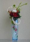 Bình thủy tinh xanh, hoa Hồng G000003 (hết hàng)