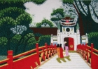 Tranh thêu đền Ngọc Sơn(48*53) T001047hết hàng